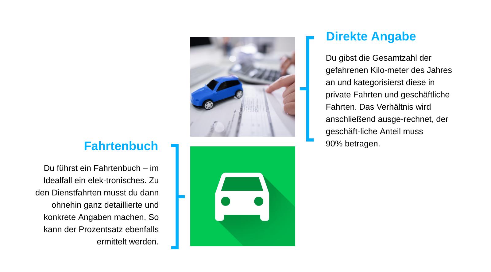 Entweder ein (bestenfalls) elektronisches Fahrtenbuch oder mühsam direkt beim Finanzamt angeben.
