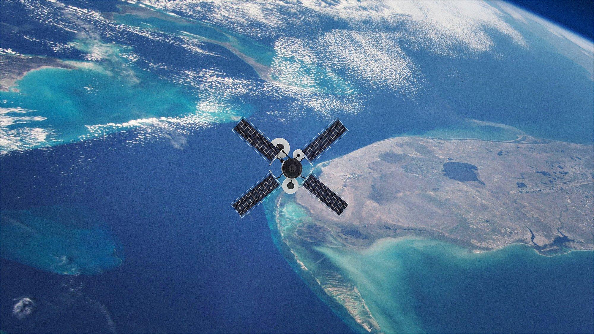 GPS - Ansicht auf einen Satelliten, der die Erde umkreist