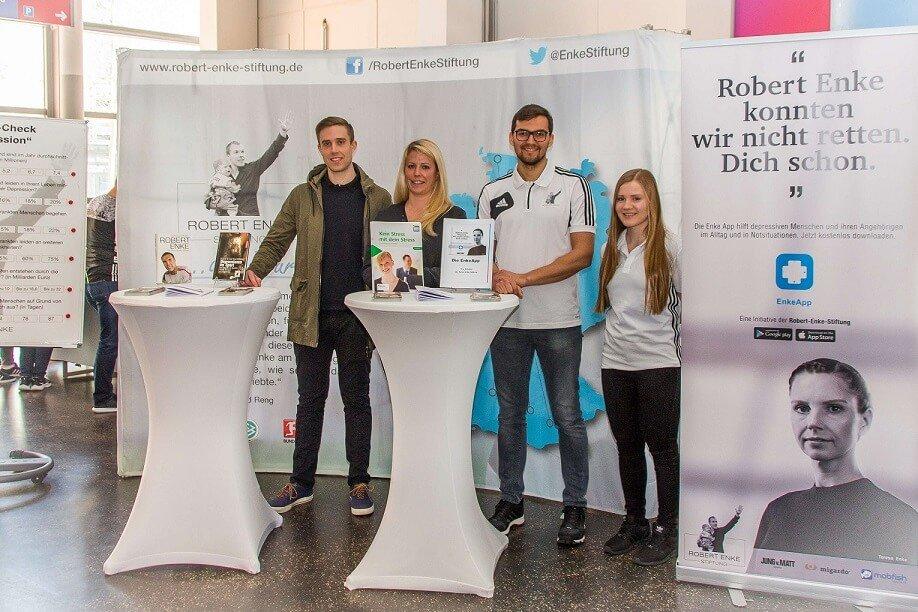 Informationsstand der Bornemann migardo GmbH beim Bundesliga-Spiel auf der Expo Plaza